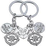2pcs BBF Best Friends Key Chain Ring Set No Matter Where Compass Split Broken Heart Friendship Gift Unisex (2pcs BBF No Matter Where Compass Keychain)