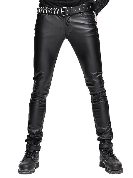 timeless design 0629c 425df Devil Fashion Pantaloni Skinny Stretti di Steampunk Gothic Uomo  Elasticizzati in Pelle Nera Pantaloni Skinny Slim Fit Slim con Cerniera  Pantaloni di ...