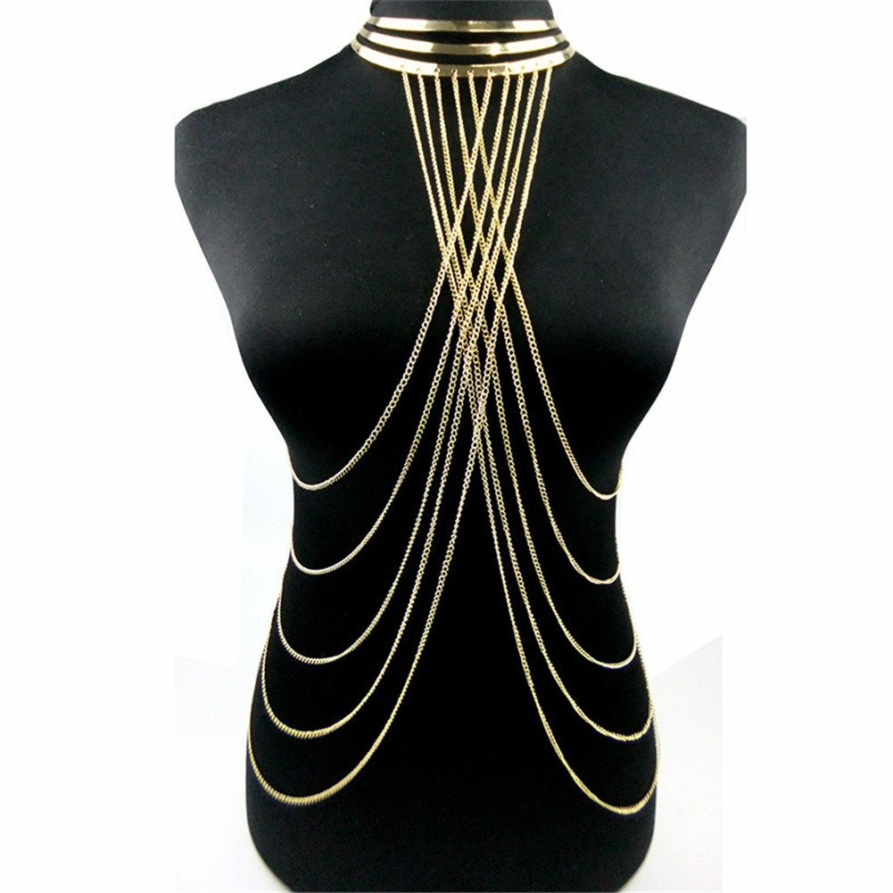 SIYWINA Gold Tone Body Chain Adjustable Harness with Fine Chain Multirow Necklace