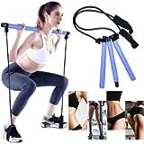 GoMi Portable Pilates Bar Kit with Resistance Band Yoga Pilates Stick, Exercise Toning Bar with Foot Loop, Sit-Up Bar…