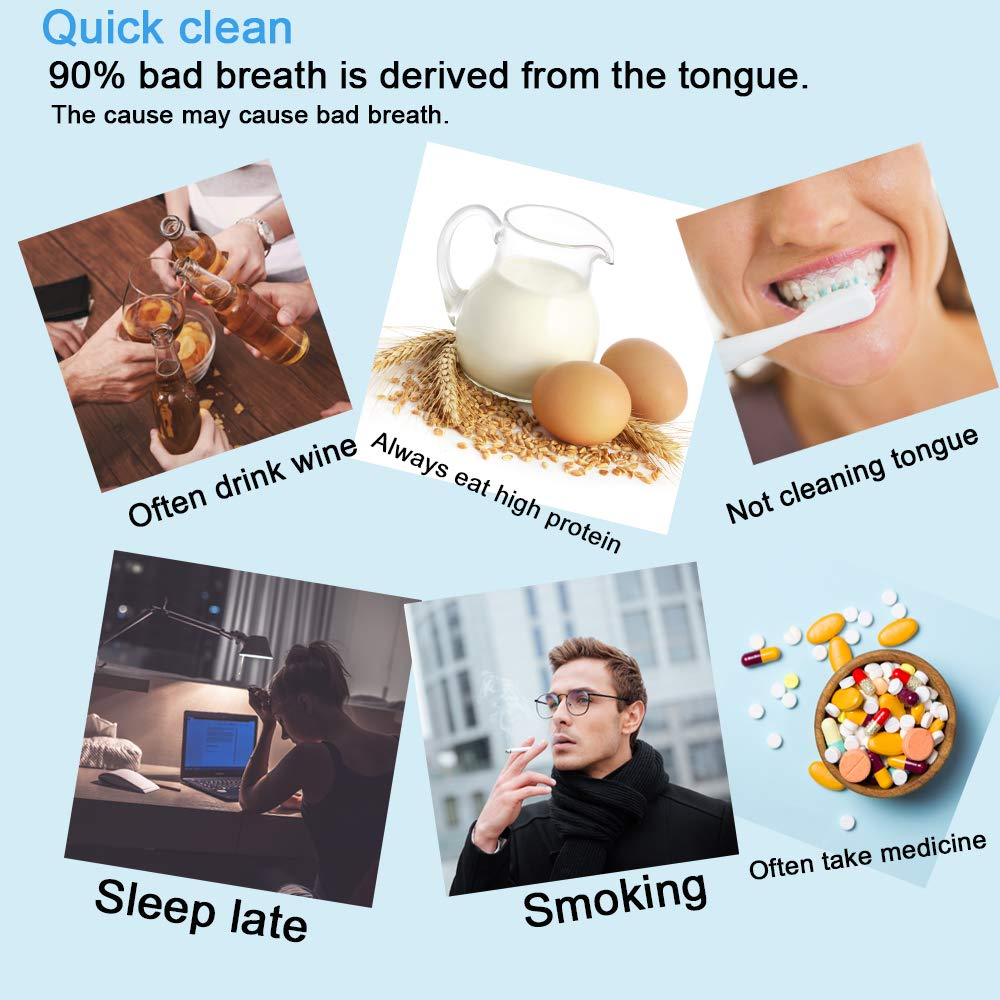 2020 New Version Tongue Scraper Cleaner for Adults & Kids, Medical Grade Metal Tongue Brushes Set for Fresh Breath Dental Eliminate Bad Breath in Seconds (2 pcs) : Beauty