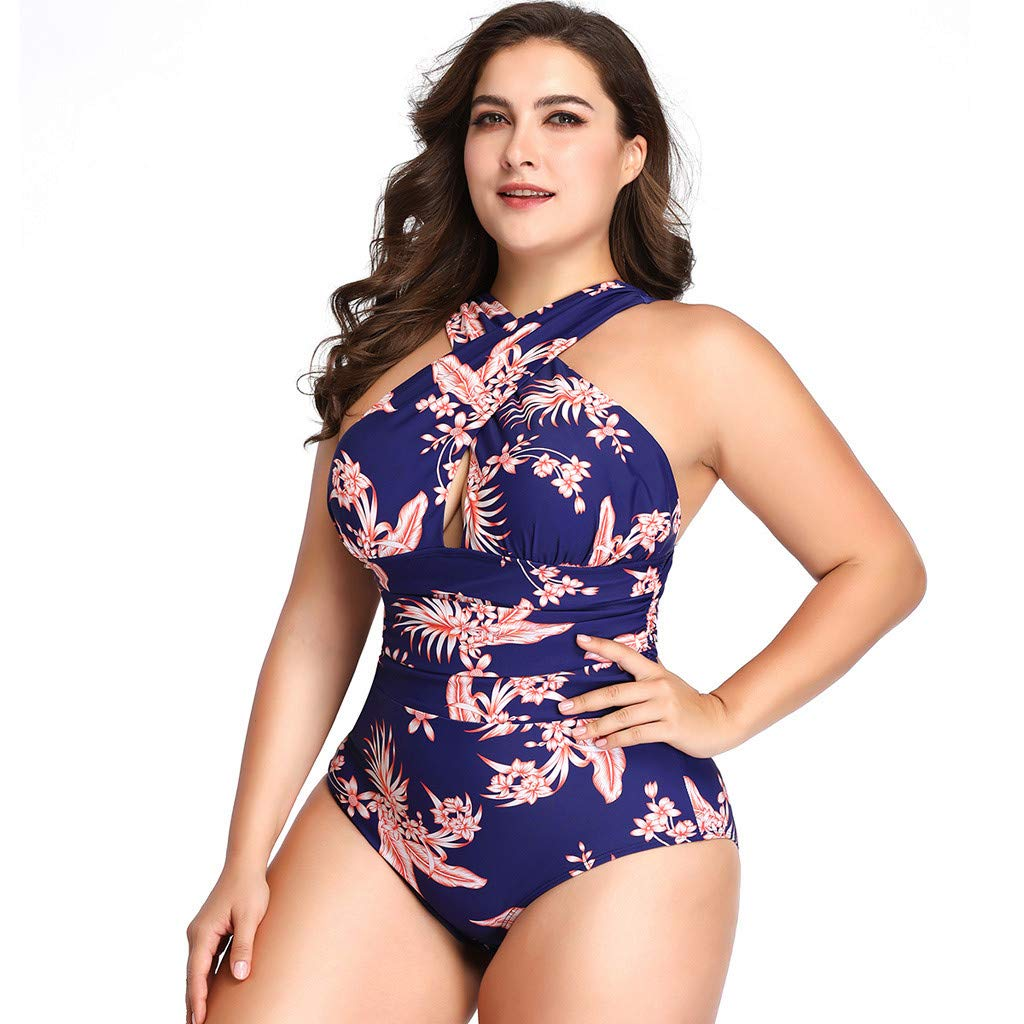 Women's Swimsuits One Piece Tummy Control Front Cross Backless Swimsuit Bathing Suit (XXXL, Blue)