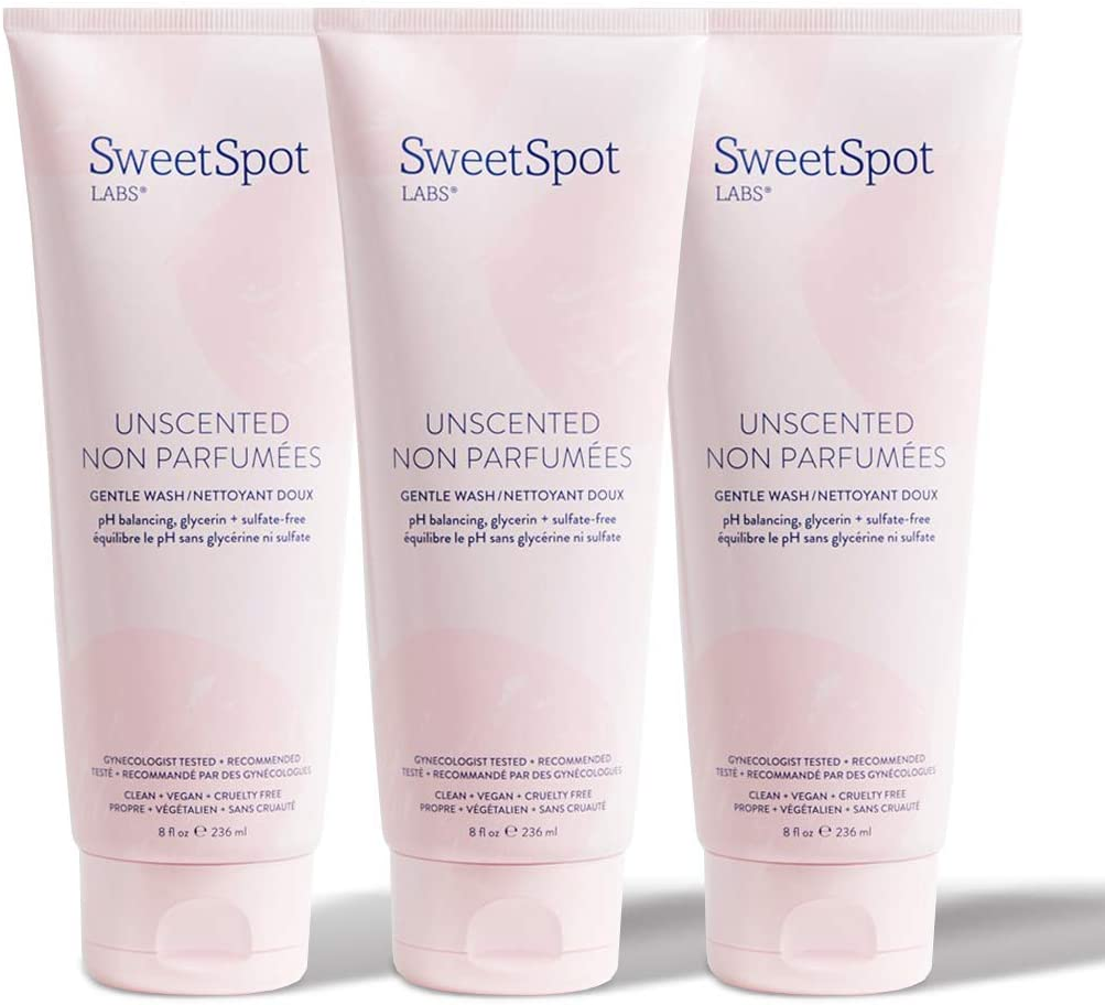 SweetSpot Labs Unscented Body + Feminine Cleanser | Fragrance-Free, Sulfate-Free | pH Balanced to Vulva Skin (External Vagina) | GYN Approved | 3 x 8oz Multi-Pack