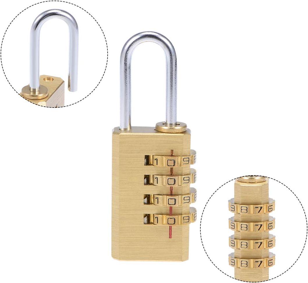 5mm Shackle 28mm Body Width Brass Lock sourcing map 4 Digit Combination Padlock