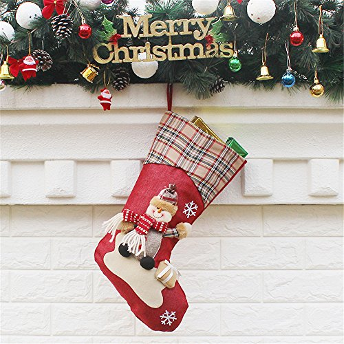 "NiceMax Classic Christmas Stockings 18"" Cute Santa's Stockings Plush 3D Applique Tree Bag Hanging Gift Socks Handmade Stockings (Snowman)"