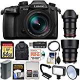 Panasonic Lumix DC-GH5 Wi-Fi 4K Digital Camera & 12-60mm f/2.8-4.0 + 35mm & 85mm T/1.5 Lenses + 64GB Card + Backpack + Flash + Video Light + Battery Kit