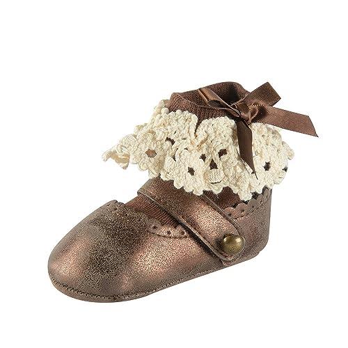 01536e7b ESTAMICO Zapatos bebé Niña Primeros Pasos, Zapatos y Calcetines Blancos del  Bautismo del bebé: Amazon.es: Zapatos y complementos