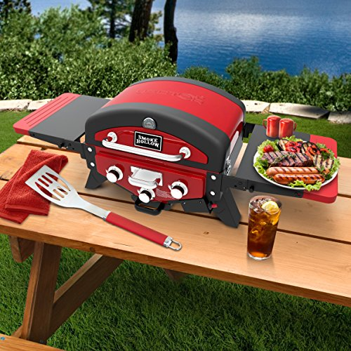 Smoke Hollow Vector 3-Burner Tabletop Propane Gas Grill w/Smoke Tray and Folding Side Tables