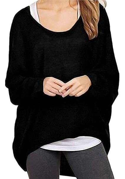 RJXDLT Women's Batwing Sleeve Pullover Baggy Tops Loose Shirts Blouses For  Women Black Small