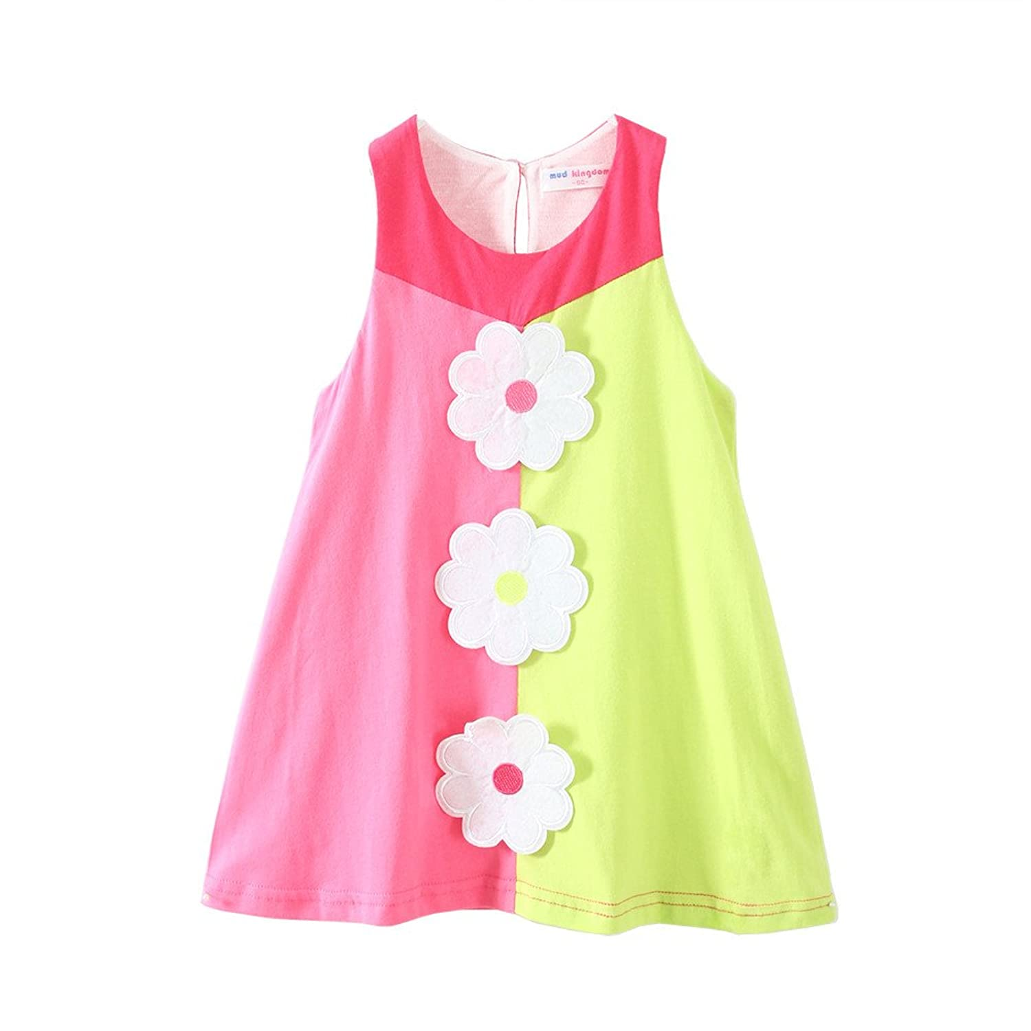 Mud Kingdom Little Girls Dresses Holiday Summer Flower Patchwork - Click Image to Close