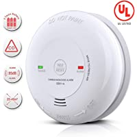 Carbon Monoxide Alarm Detector Battery-Operated CO Alarm with UL Listed, Japanese Figaro Sensors CO Alert with Voice Warning, Battery Included (White)