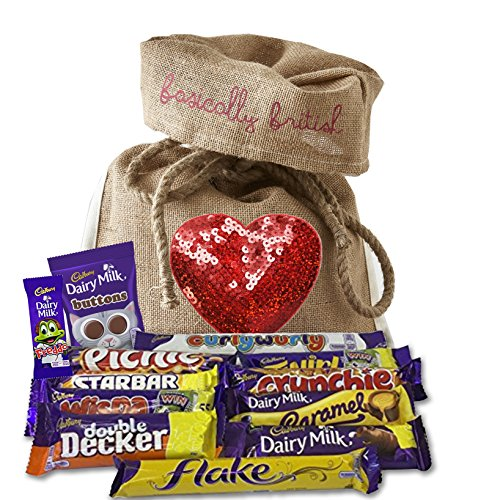 British Cadbury Variety in Limited Edition Basically British Burlap Bag with Sequin Heart - Picnic, Crunchie, Double Decker, Buttons, Freddo and uch more!