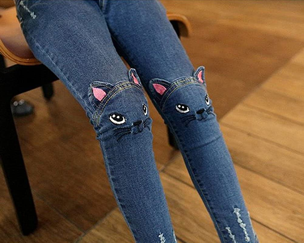 Jean Fille Slim avec Patchs Motif De Chat Pantalon Denim Taille Haute Legging Jeans