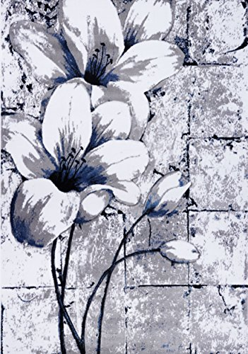 Ladole Rugs Beautiful Tulips Floral Pattern Durable Polypropylene Indoor Area Rug Carpet in Grey Blue, 5x8 (5'3