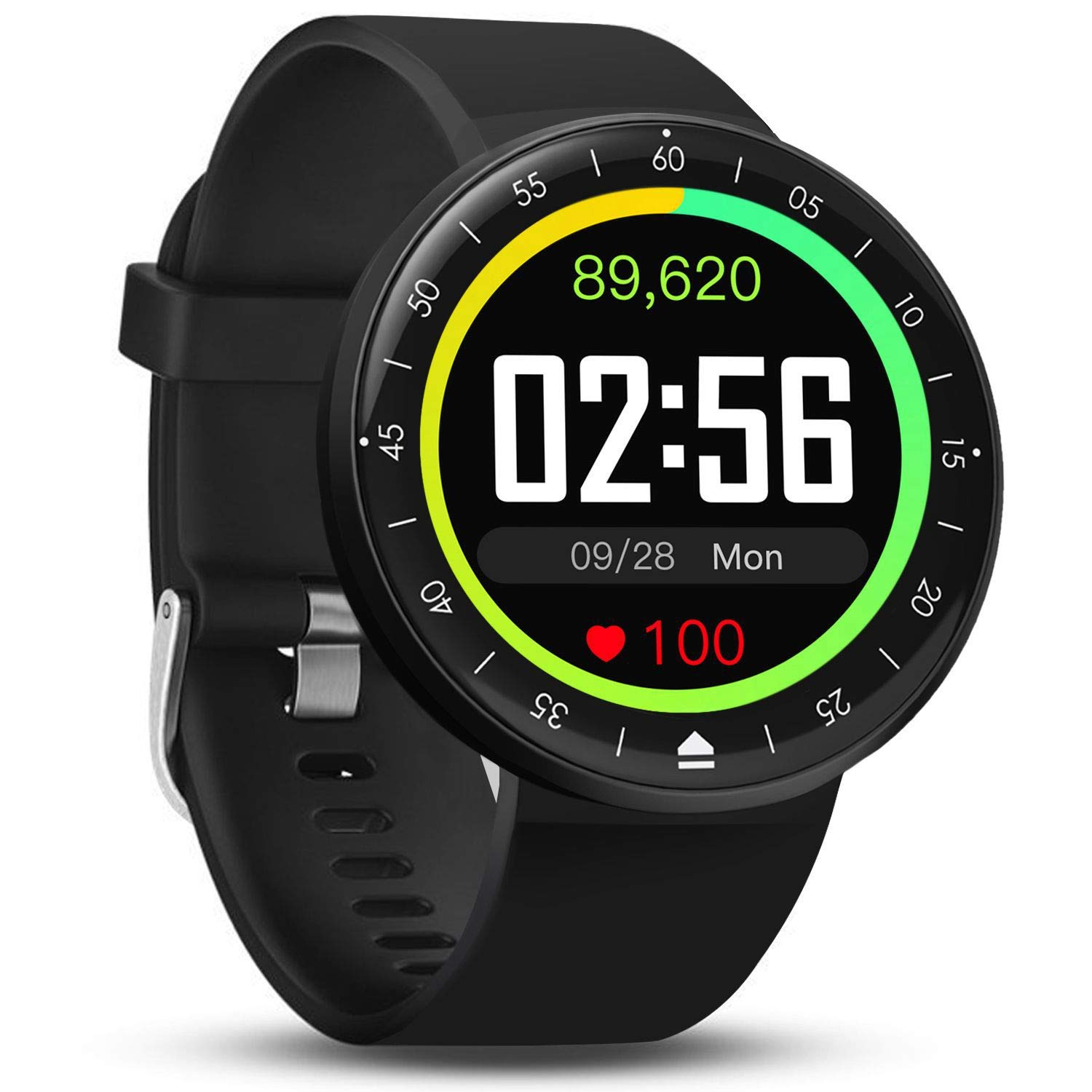 FITVII Smart Watch, Full Touch Screen Fitness Tracker with DIY Home Screen, IP68 Waterproof Heart Rate & Blood Pressure Monitor, 9 Sport Mode Activity Tracker for iPhone & Android for Men Women Kids