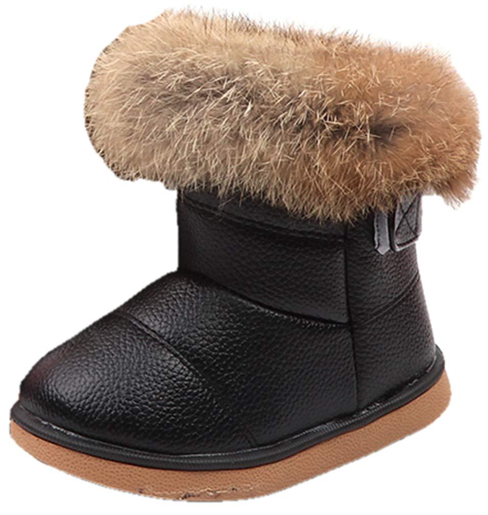 VECJUNIA Kids PU Waterproof Fluffy Faux Fur Lined Snow Boots (Black, 11 M US Little Kid)