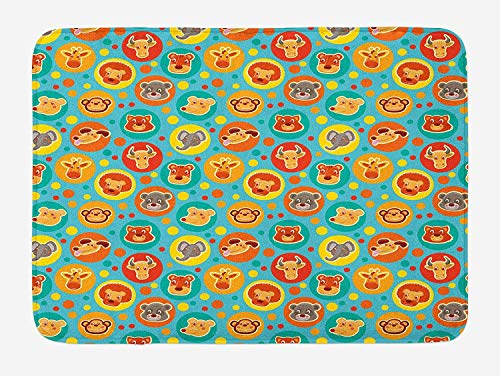 Weeosazg Cartoon Animal Bath Mat, Comic Animal Faces