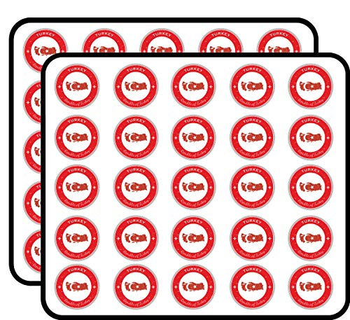 Turkey Grunge Flag Stamp Art Decor Sticker for Scrapbooking, Calendars, Arts, Kids DIY Crafts, Album, Bullet Journals 50 Pack