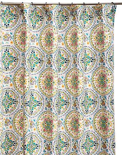 Amazon Com Cynthia Rowley Happy Elephant Medallion Fabric Shower Curtain Turquoise Gray Orange