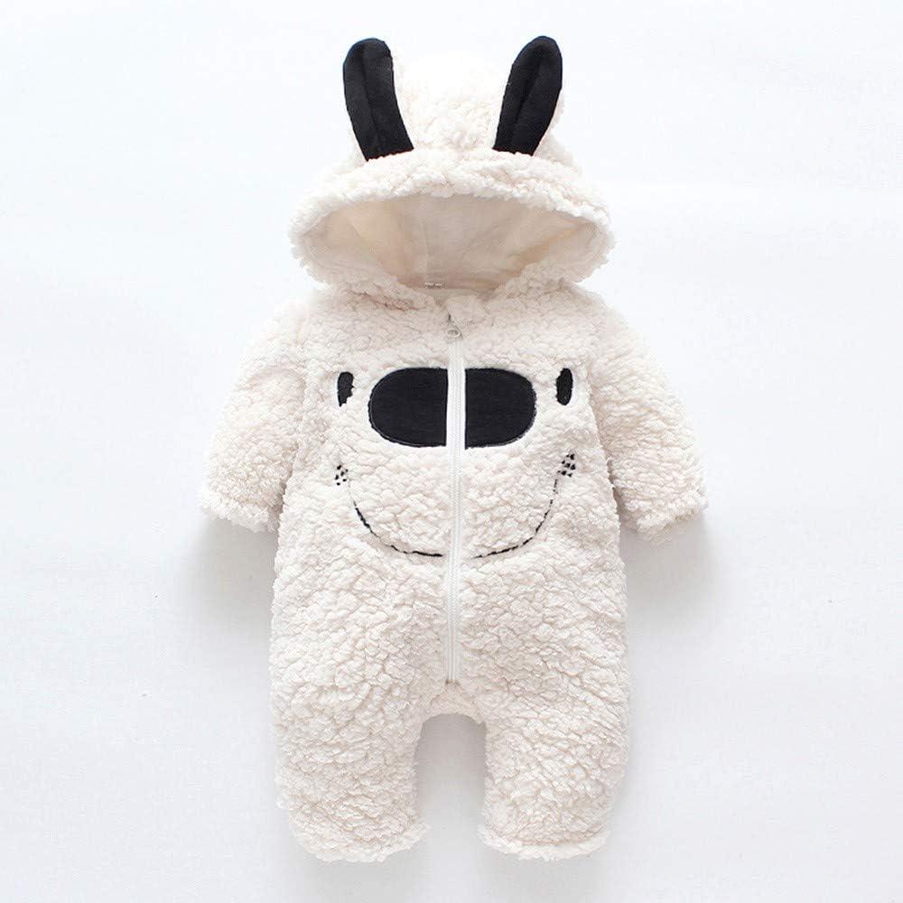 Outtop Baby Boys Girls Hooded Romper Newborn Winter Warm Zipper Cartoon Jumpsuit Coat Clothes TM