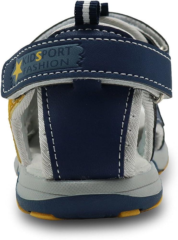 L.L Boys Sport Sandal Closed Toe Outdoor Flats Athletic Beach Shoes Hook /& Loop Closure Sandals