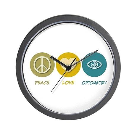 CafePress   Peace Love Optometry Wall Clock   Unique Decorative 10u0026quot;  Wall Clock