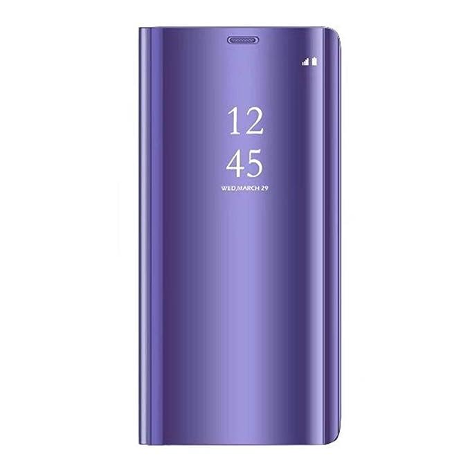 Caler ® Funda Reemplazo para Xiaomi Redmi Note 4 Funda,Flip Tapa Libro Carcasa Modelo Fecha Espejo Brillante tirón del Duro Case Espejo Soporte ...