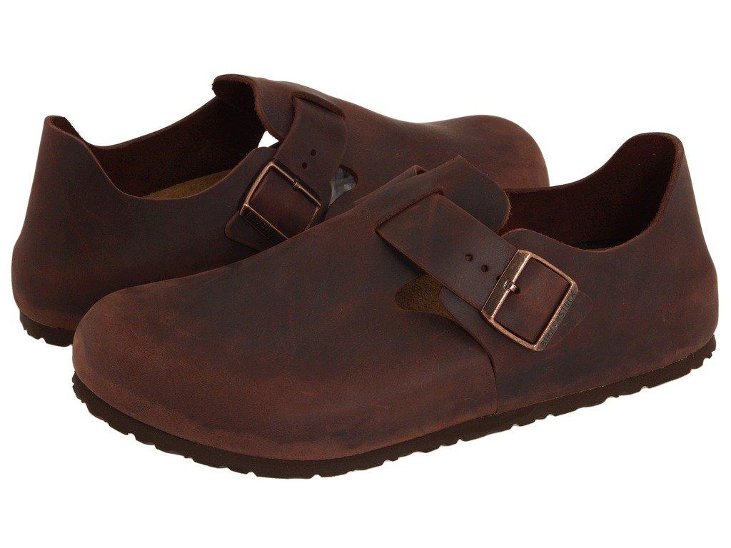 Birkenstock Unisex London Clog Adjustable Strap Slip On Loafer Shoe, Habana Oiled Leather, 41