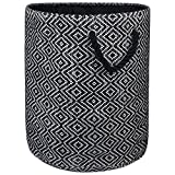 "DII Woven Paper Basket or Bin, Collapsible & Convenient Home Organization Solution for Bedroom, Bathroom, Dorm or Laundry (Medium Round - 14x17""), Black & White Diamond Basketweave"