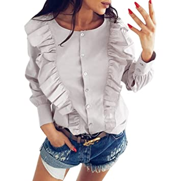34e769d5918418 Women Office Shirts and Blouses,Fashion Women Long Sleeve Solid T-Shirt  Casual Tops