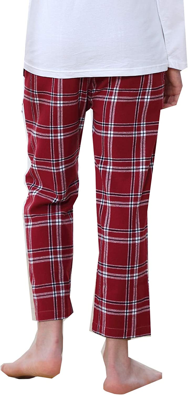 OCHENTA Boys Cotton Woven Pajama Lounge Pant Plaid Soft Sleepwear