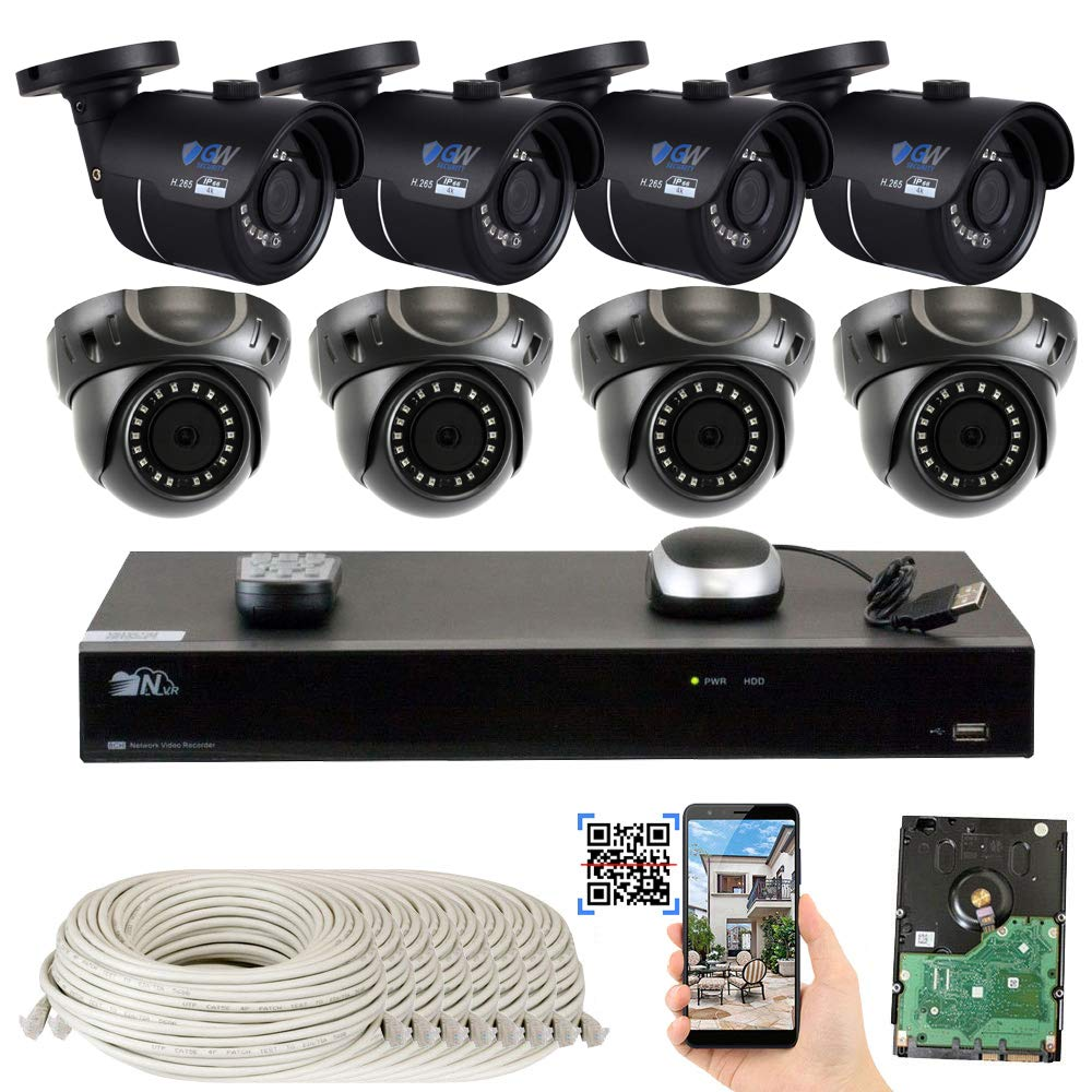 GW 8 Channel H.265 4K NVR 8-Megapixel Security Camera System, 4 Bullet and 4 Dome 8MP PoE Outdoor Indoor Waterproof UltraHD 4K IP Cameras, 3TB Hard Drive