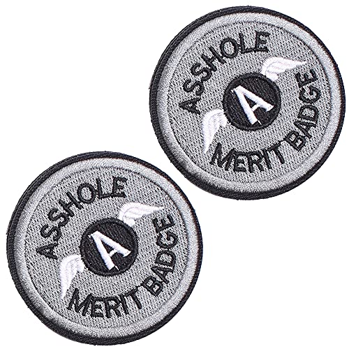 2 Pieces Asshole Merit Badge Morale Patch, Funny Tactical Military Morale Patch Hook & Loop, Grey