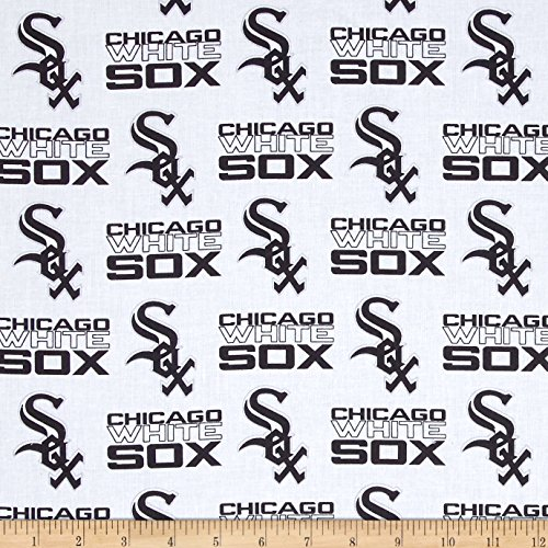 MLB Cotton Broadcloth Chicago White Sox Black/White Fabric by The Yard Chicago White Sox Fabric