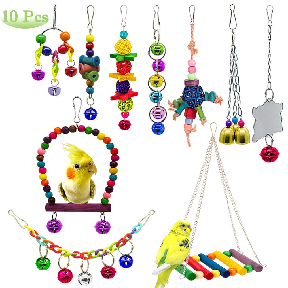 AUHOKY 10Pcs Bird Parrot Toys, Hanging Swing Chewing Perches with Bells Parrot Finch Toys, Hanging Cage Hammock Ladder Bell Toys for Small Parakeets Cockatiels, Conures, Macaws, Love Birds, Finches by AUHOKY