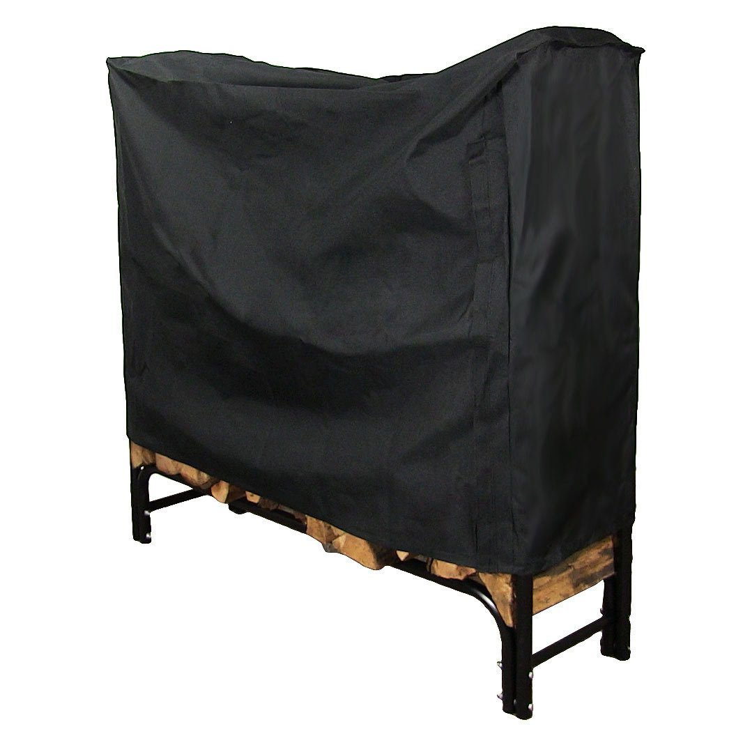 Sunnydaze 4-Foot Firewood Log Rack Cover ONLY, Outdoor Waterproof Heavy Duty Wood Cover, Black