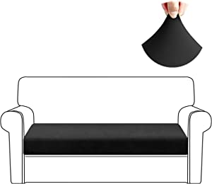 HDCAXKJ Stretch Couch Cushion Covers Soft Spandex Sofa Seat Cover for Loveseat Sectional Sofa Slipcovers Living Room Non Slip Furniture Protector with Elastic Bottom and Straps (Large, Black)