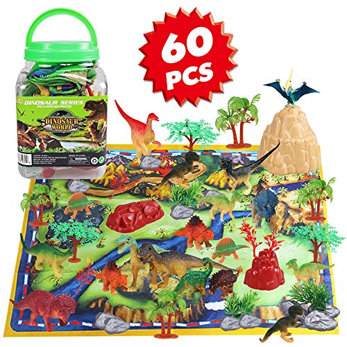 Dinosaur Toy Playset 60 Piece with 26 Educational Realistic Dinosaur