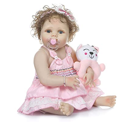 TERABITHIA 56cm Lifelike Anatomically Correct Hand-Rooted Curly Hair Reborn Baby Doll Look Real Full Body Silicone Newborn Toddler Dolls Washable for Girl: Toys & Games [5Bkhe0800874]