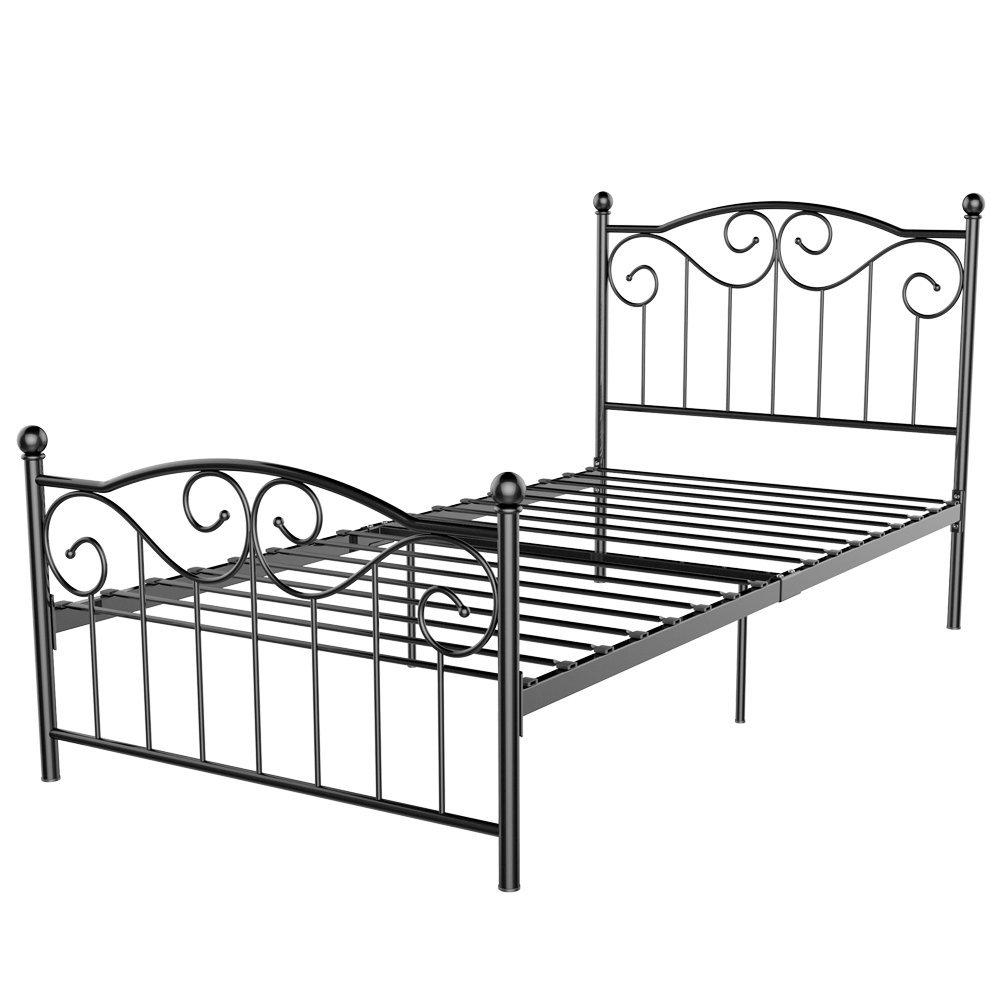 Topeakmart Single Metal Bed Frame Twin Size Vintage Bedstead Wood Slats Support Platformwith Headboard & Footboard, Black Steel Slats Bed