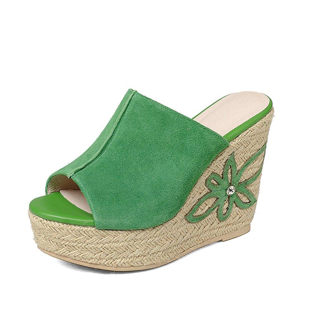 Green Sandals Slippers Summer New Sandals Women's Summer High Heel Sandals Sandals & Slippers Women's Summer Slippers (11cm High) (color   Green, Size   39)