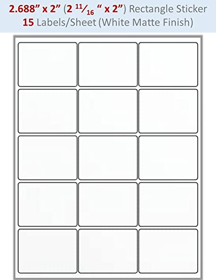 image about Printable Label Sheets titled : 8 Sheets Blank Sticker Labels: 2.688\