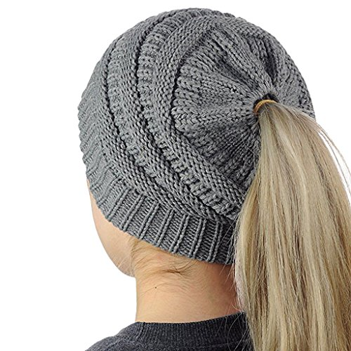 Kocome Women Knit Hat, 2018 Fashion Winter Women Hole Knitting Beanie Turban Head Wrap Cap (Deep Gray) (Womens Fashion Knit Hat)