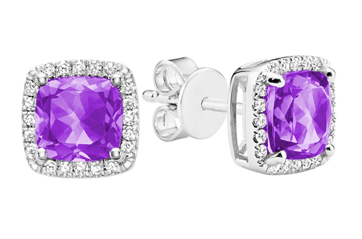 10K Gold Natural Diamond and Gemstone Earrings (0.11TDW H-I Color,I1 Clarity) push backs (amethyst)