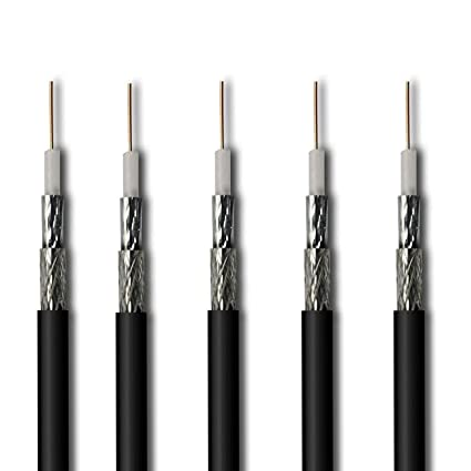 5-Pack RG6 100ft Dual Shield Coaxial Cable, 3.0 GHz Outdoor Sunlight Resistant CL2