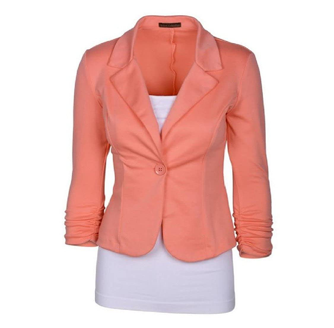 GodeyesWomen Godeyes Women V Neck Short Novelty Pure Color 1 Button Coats Suit Raincoat