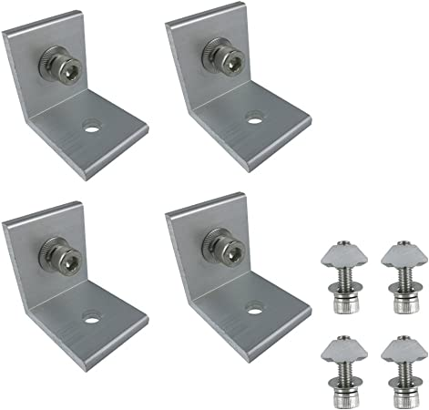 AUECOOR 4 Sets Solar Panel Mounting Z Bracket Set Silver Tone High Quality for Yacht//Solar Panel