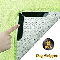 Rug Grippers, 8pcs Black Anti Curling and Non Slip Rug Gripper - Carpet Gripper Makes Rugs Corners and Edges Flat .Keep Your Rug Stay in Place - Ideal for Non Slip Rug Pad Mat for Your Carpet