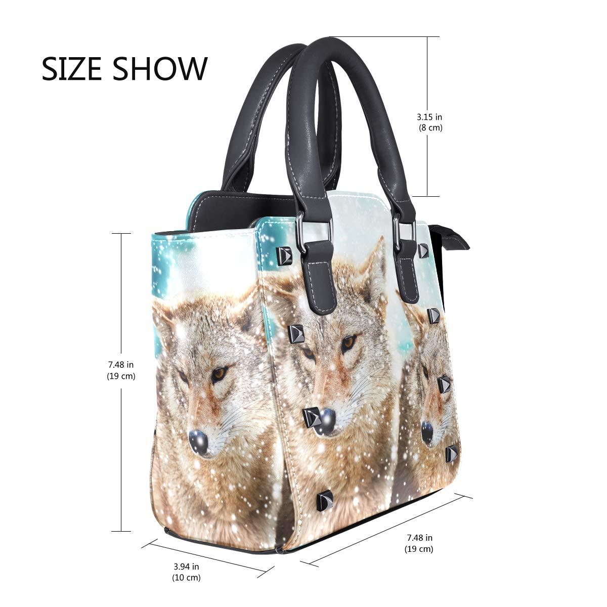 Amazon.com: Womens Handbags Winter Snow Animal Wolf Couple ...