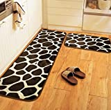 Wolala Home 2 Piece Sets Memory Foam Kitchen Rugs Thick and Soft Cobblestone ...